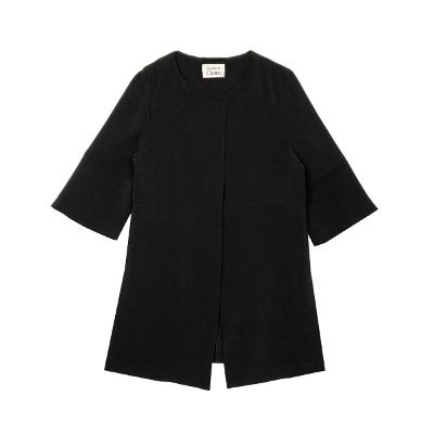none collar short sleeve jacket